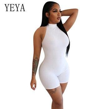 цена на YEYA Women Solid Color Sleeveless Bodycon Halter Playsuit Black Summer Skinny Sport Romper Sexy Club Party Bodysuit Street Style