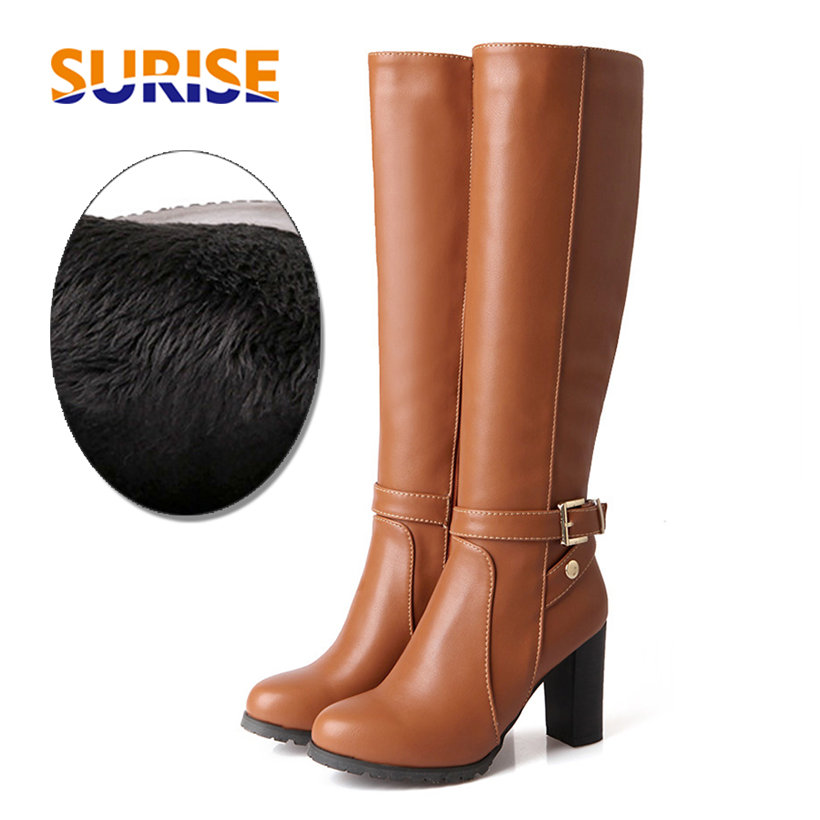 Knee High Boots Black Brown Round Toe