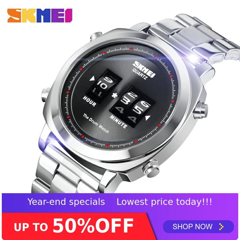 SKMEI Patented Design Men Watch Fashion Quartz Wristwatches Waterproof Simple Drum Watch Stainless Steel Orologio Uomo 1531