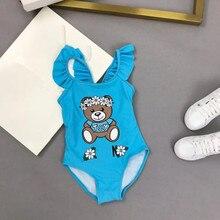 2021 New Girls swimsuit One piece Blue Swimwear High quality Children swimwear Kids Beach wear Bathing suit