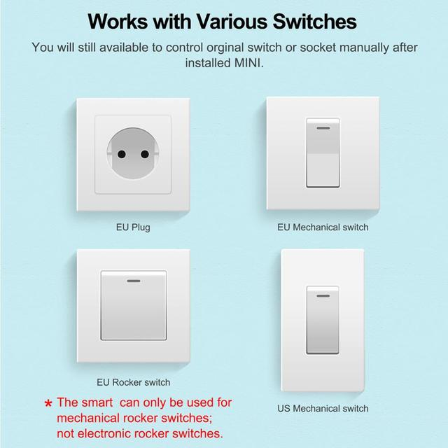 16A Mini Smart Wifi DIY Switch Supports 2 Way Control, Smart Home Automation Module, Works with Alexa Google Home Smart Life App 5