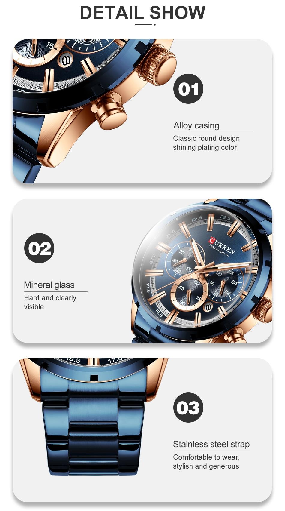 H5045dc361cd24d829f2a2dbfd49dda2ad CURREN Men Watch Top Brand Luxury Sports Quartz Mens Watches Full Steel Waterproof Chronograph Wristwatch Men Relogio Masculino