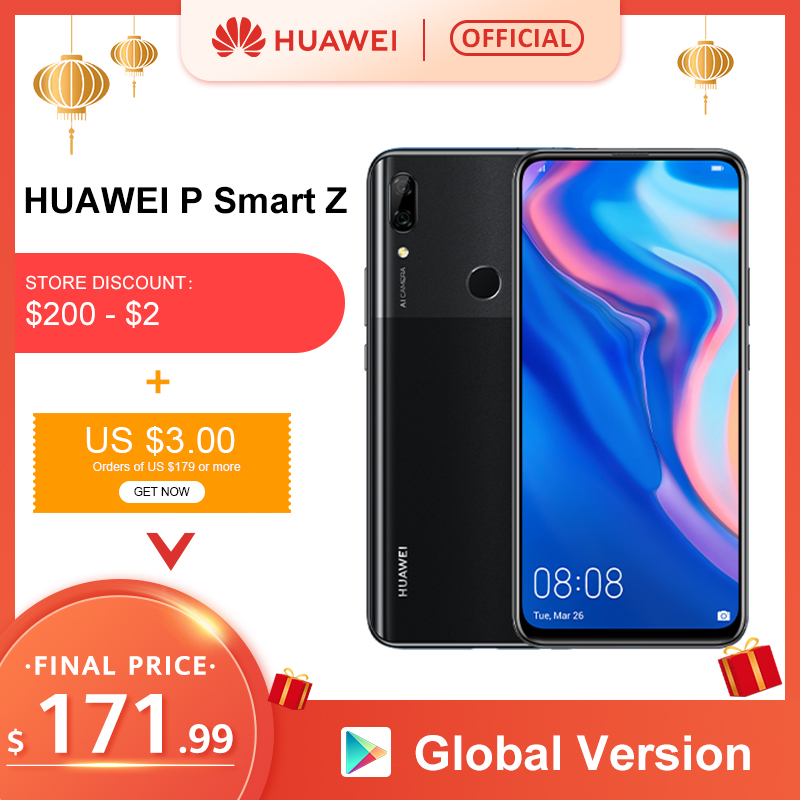 Global Version Huawei P Smart Z Mobile Phone 4GB 64GB Kirin 710 NFC 16MP Dual Cameras Auto Pop Up Front Camera 6.59'' Cellphone