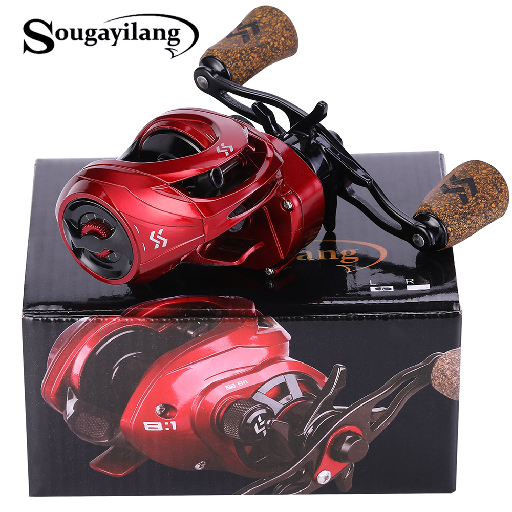 Sougayilang 8 :1 High Speed Baitcasting Reel 9+1BB 211g Casting Fishing Reel For Max Drag Power 17.6LB Carp Fishing Tackle