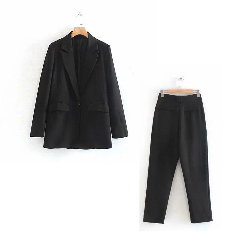 Casual Long Sleeve Ladies Suit Pants Suit Autumn New Loose Black Jacket Female Slim Trousers Women's Office Suit Suit Two-piece