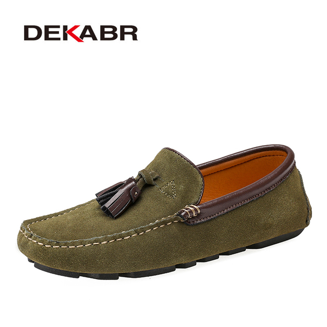 Dekabr本革男性靴春のファッション革の男性フラッツ新高品質カジュアルシューズを駆動するための