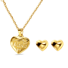 Stainless steel jewelry set high quality gold color woman jewelry Dubai African wedding party heart shaped jewelry set woman gif 2018 nigerian wedding african beads jewelry set brand woman fashion dubai gold color jewelry set nigerian wedding bridal bijoux