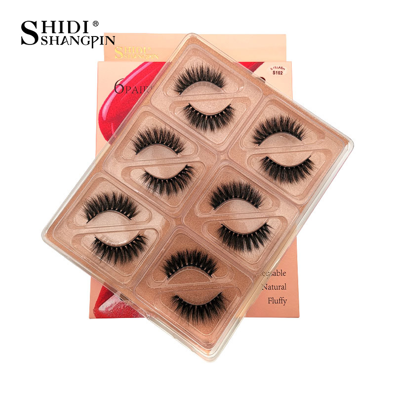 SHIDISHANGPIN 6 Pairs 3d Eyelashes Mink Lashes Natural 1 Box Mink Eyelashes False Eyelash Makeup Bulk Lashes Wholesale Maquiagem