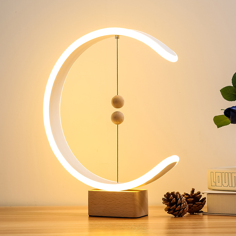 Creative Gift Magnetic Balance LED Lamp Home Table Night Light Magnetic Ball Switch Lights Heng Home Decor Night Light Drop Ship