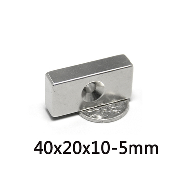 3/5/10PCS 40x20x10-5mm N35 Powerful Block Magnets Strip Holes 5mm Permanent Magnet 40x20x10-5mm Neodymium Magnet 40*20*10-5 mm image