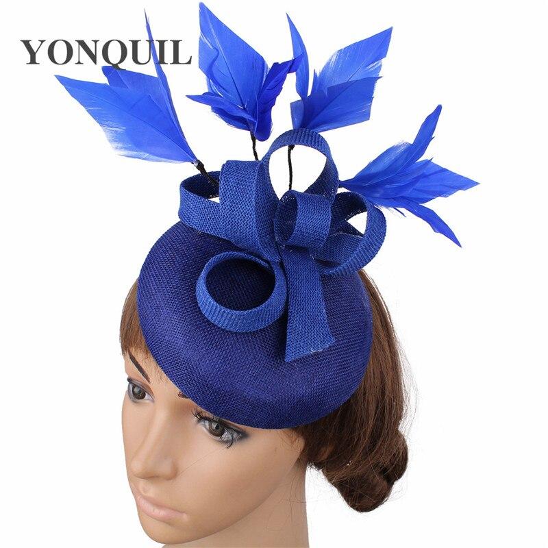 Новые женские шляпки с сеткой цвета хаки, модные женские шляпы с лентами для свадебной вечеринки, красивые аксессуары SYF570 - Цвет: royal blue