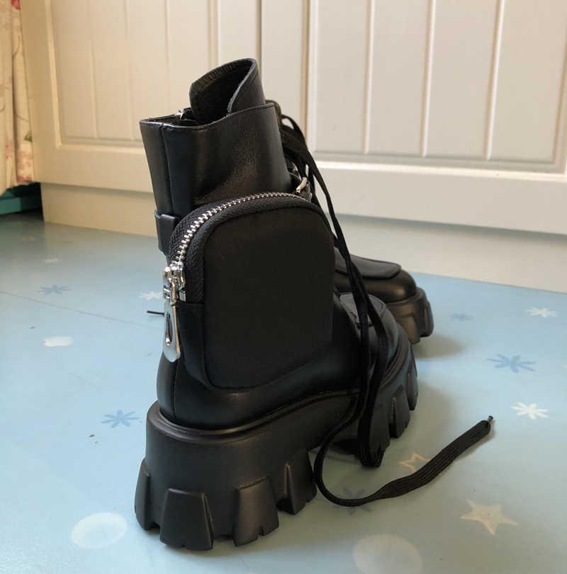 Giày Bốt Martin Thu Phong Cách Anh Quốc Công Việc Cổ Cao-TOP Giày Da Quân Đội Ủng Nền Tảng Nền Tảng Xu Hướng Bỏ Túi Mắt Cá Chân Giày