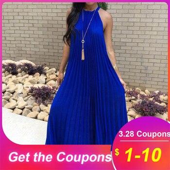 Pleated Blue Maxi Dress 2019 Summer Halter Sleeveless Women Beach Dresses Sundress White Long Plus Size Daily African Dress цена 2017