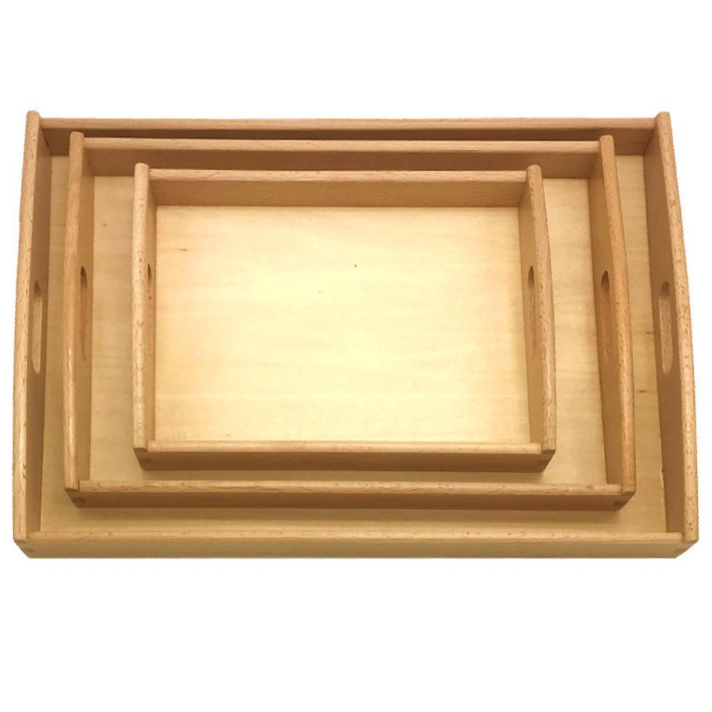 Wood Food Tray Toys Storage Box Container Sundries Organizer Kids DIY Craft For Restaurant Home Rolling Tray Fruit Food Serving