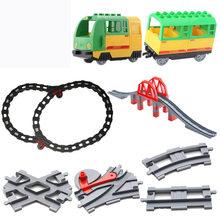 Locomotiva elétrica trem brinquedos grandes partículas blocos de construção compartimento acessórios compatíveis crianças presente aniversário