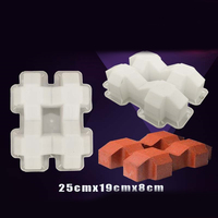 DIY Cerca de Concreto 3D Molde Jardim Piscina de Plástico Molde da Pedra De Pavimentação Bloco Quadrado Quintal Pond Pátio De Tijolos Antigos Moldes 25x19x8cm|Moldes de pavimentação| |  -