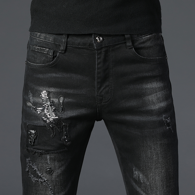 Jeans Mens  Hip Hop Slimming Daily Business Fashion Black Skull Pattern Midweight Trousers