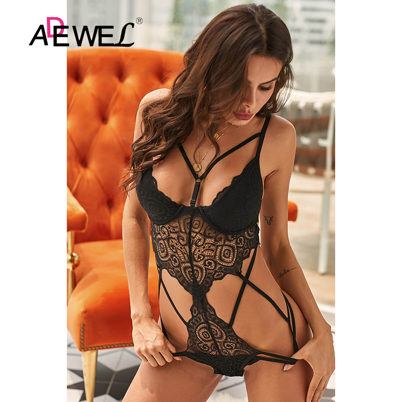 H5046cef2e8bc43469158884a2c62847cF - ADEWEL Sexy Black Royce Push Up Women Leotard Bodysuit Lace Cross Strap Kadın Mayo Body Suit Costume De Bain Femme 1 Piece