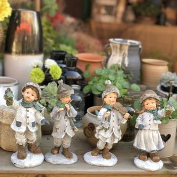 4 Pcs/set Snowman Band Figurine Figure Art Sculpture Decoration Resin Craft Home Decoration Garden Ornaments Best Gift R4647