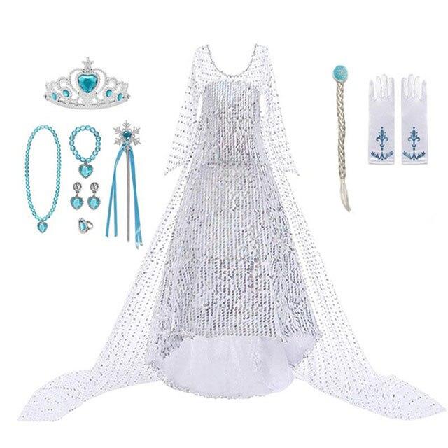 Frozen 2 Fancy Princess Elsa Dress Up Christmas Carnival Girls Elsa Costume Child Birthday Party White Sequined Long Tail Dress