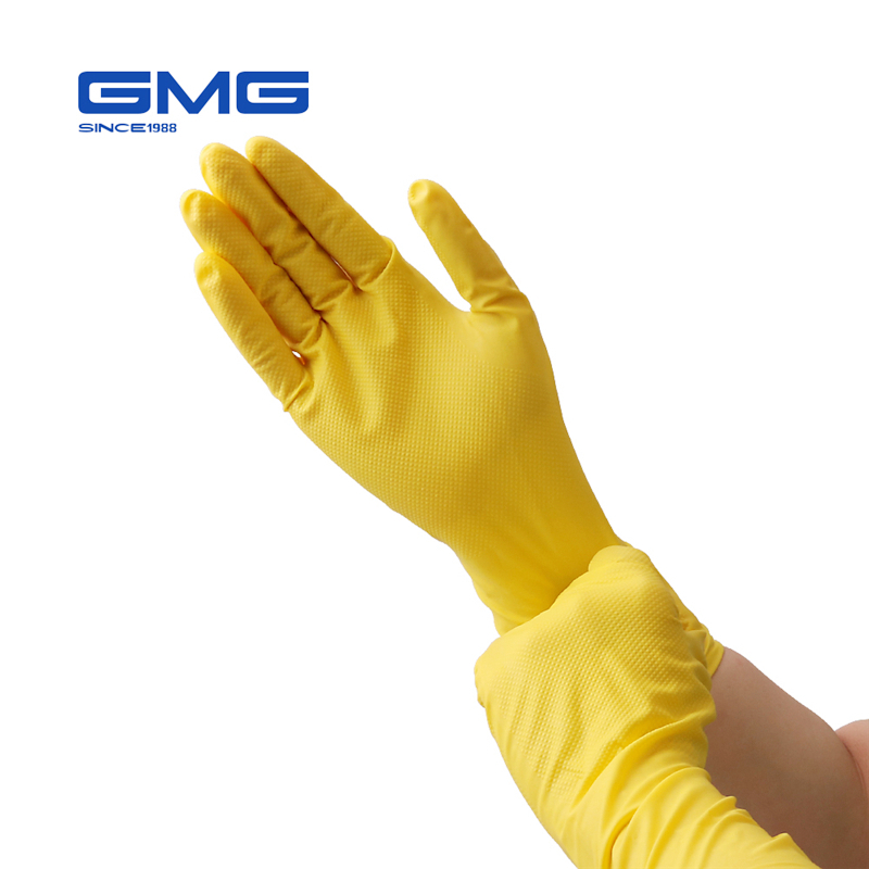 Gloves Nitrile Waterproof Oil Proof GMG Yellow Green Nitrile Diamond Pattern Work Safety Gloves Nitrile Gloves Mechanic