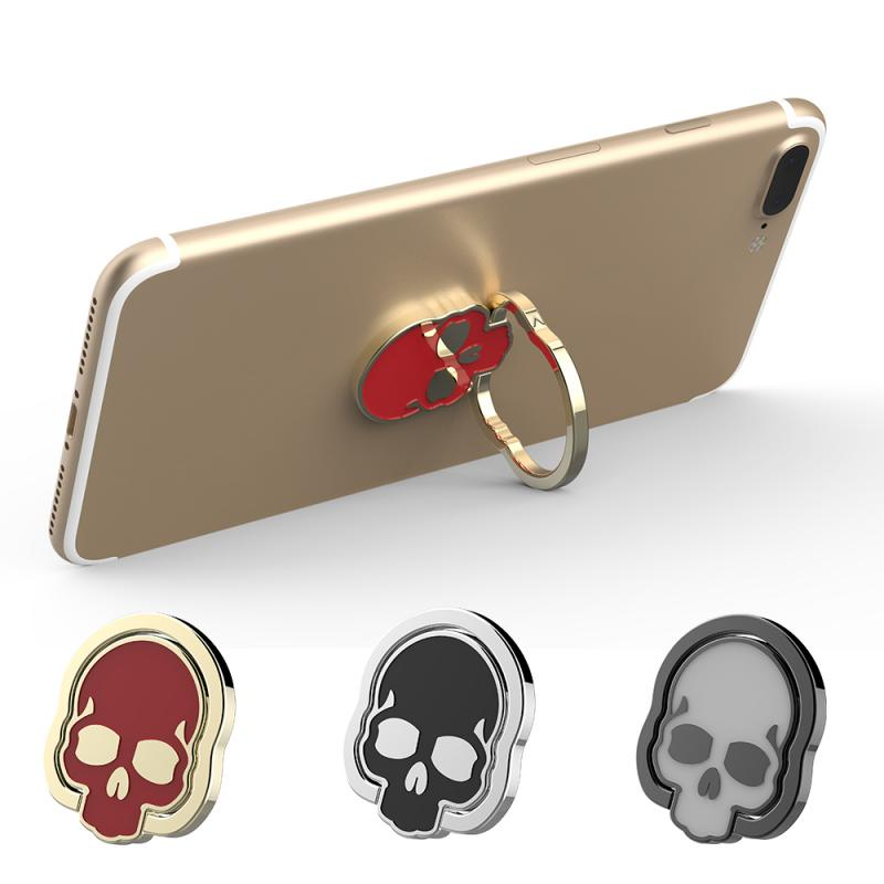 Halloween Skeleton Skull Ring Bracket Metal Mobile Phone Holder  Universal Foldable Phone Holder  For Iphone Huawei Samsung