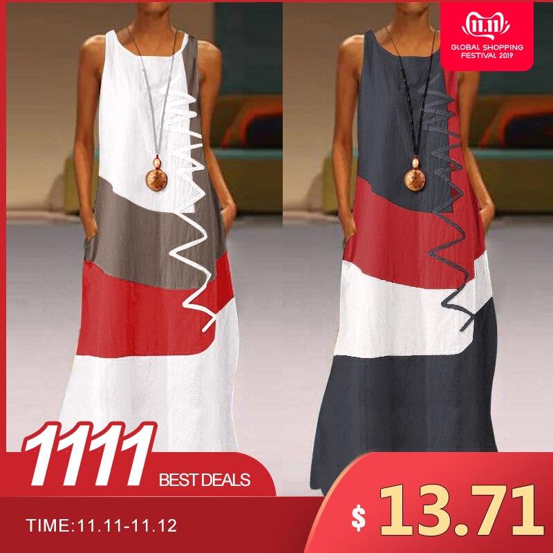 Women Patchwork Sundress ZANZEA 2019 Summer Maxi Dress Kaftan Casual Sleeveless Tunic Vestido Female 100% Cotton Robe Plus Size