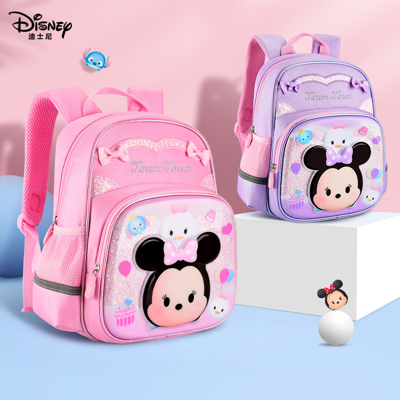 Disney 2020 New Lovely Girl Kids Backpack Tsum Tsum Bag Water Proof Schoolbag For Girls 3D Colorful Film Pattern Cute Backpack image