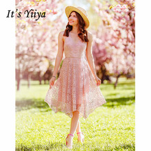 Its Yiiya Bridesmaid Dress Elegan Hollow Lace Pink Women Party for Girls Halter V-neck Sleeveless Vestido Madrinha C501