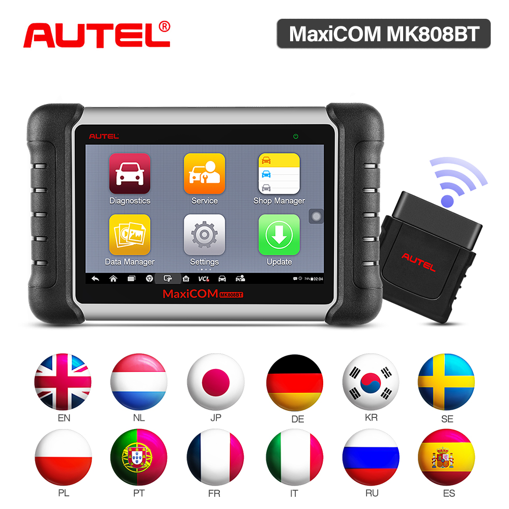 Autel MaxiCOM MK808BT OBD2 Scanner Car Scan Diagnostic Tool Code Readers Automotive Diagnosis Functions Of EPB IMMO DPF SAS TMPS