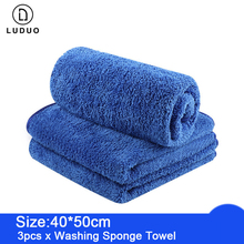 LUDUO 40*50CM 3Pcs Car Wash Microfiber Towels Cleaning Polish Drying Detailing Cloth Soft Absorbent clean Sponge