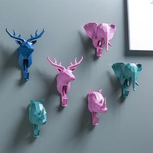 Vintage hayvan şekilli kanca geyik Stags Rhino at zürafa fil kafa duvar askısı ceket şapka kanca raf tutucu dekor
