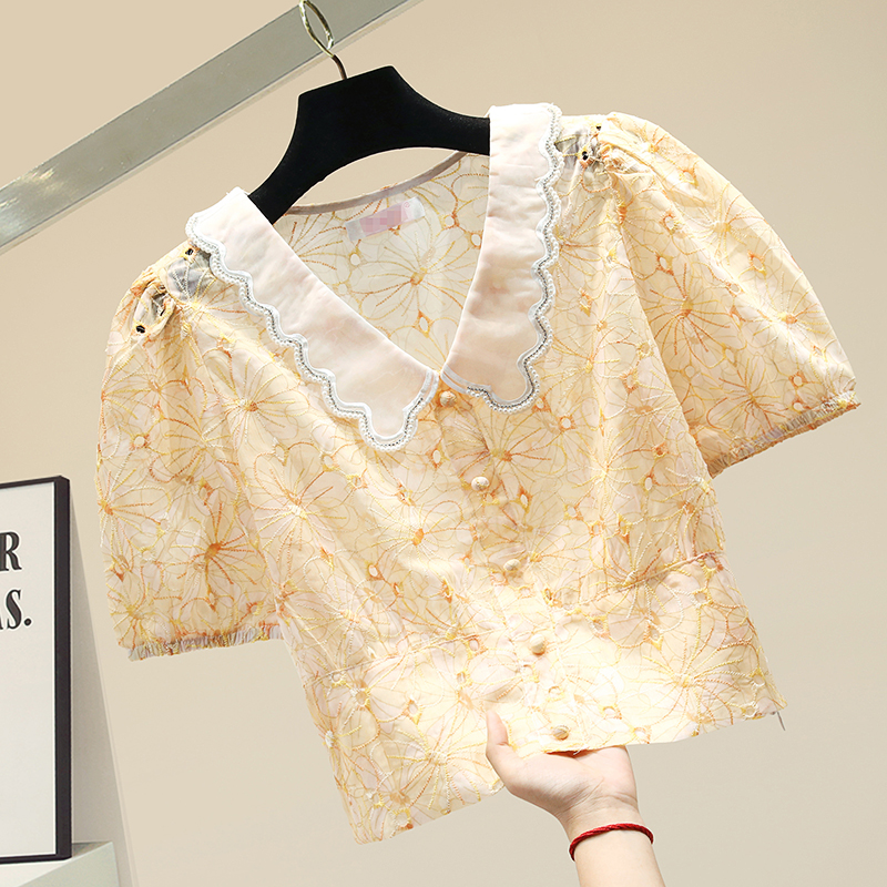 Short Blouse for Womens Embroidery Lace Doll Collar Yellow Short Sleeve Chiffon Shirt Ladies Blouse Shirts Girls Loose Sweet Top