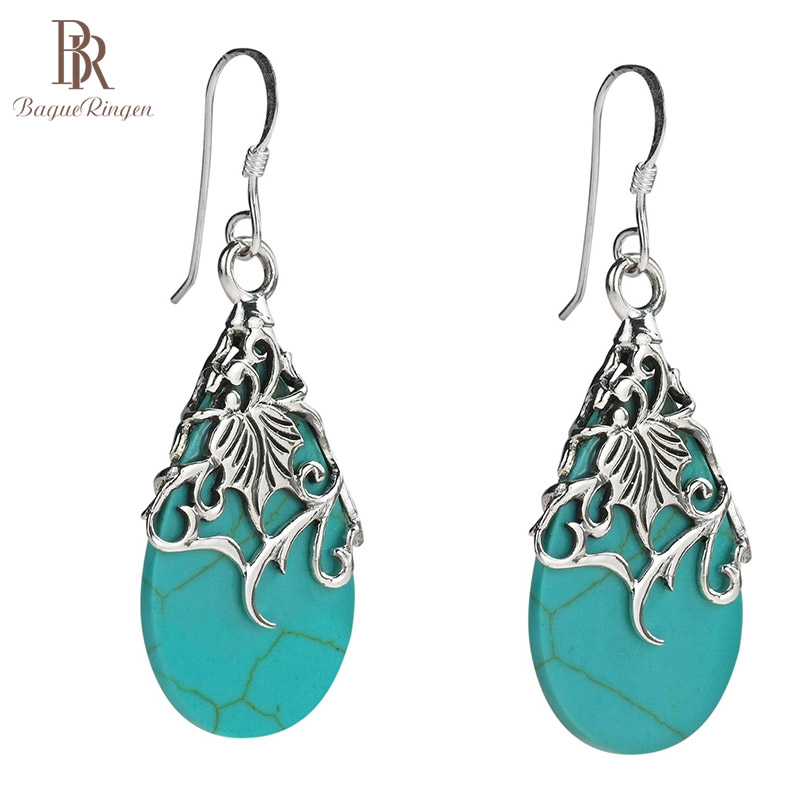 Bague Ringen Delicate Hollow-out Carving Silver 925 Jewelry Ethnic Style Turquoise Earrings For Women Contracted Ear Drops Gift