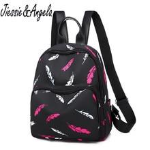 Jiessie&Angela Fashion Waterproof Nylon Backpack Women School Teenager Girl Shoulder Bag Multi Pocket Travel Backpacks