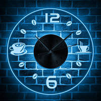 Coffee Cup Design Multi Color Changing Luminous Wall Clock Coffee Bean LED Wall Hanging Night Lamp Wall Watch Coffee Theme Clock