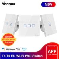 Sonoff T0/T1 Eu Smart Wifi Muur Touch Light Switch 1/2/3 Gang Touch/Wifi/433 rf/App Remote Smart Home Controller Werk Met Alexa