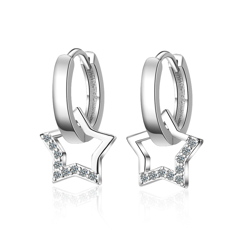 Fashion Jewelry 925 Sterling Silver Crystal Star Stud Earring for Women Wedding Party Brincos pendientes eh1085