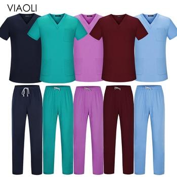Factory Outlet Scrubs Nursing Uniform Men Scrubs Suit Scrub Set Beauty Salon Work Wear Health Worker Nursing Scrubs Tops Pants
