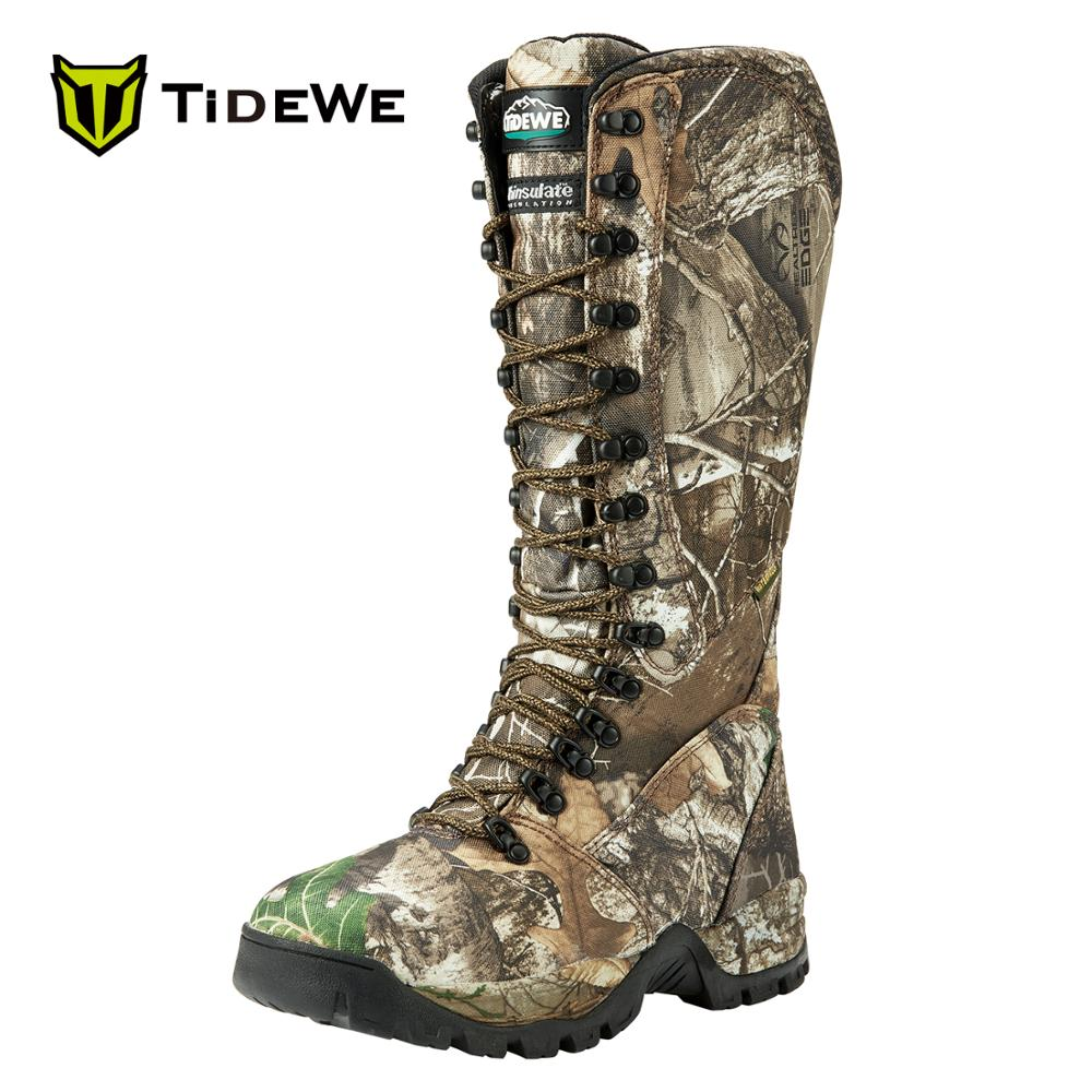 TideWe Men's Hunting Boots Insulated 400G 600D Durable Nylon Anti-Slip 40cm Breathable Side-Zip Realtree Edge Camo Hunting Boot