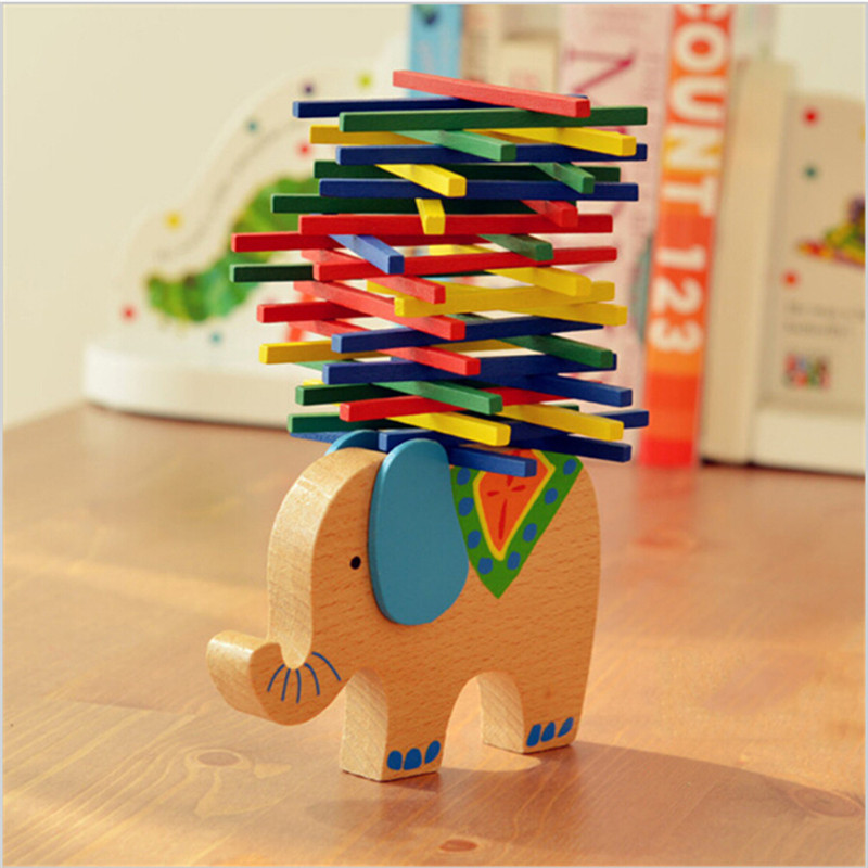 Baby Toys Educational Elephant Balancing Blocks Wooden Toy Wood Balance Game Montessori Blocks Gift For Child JK881831