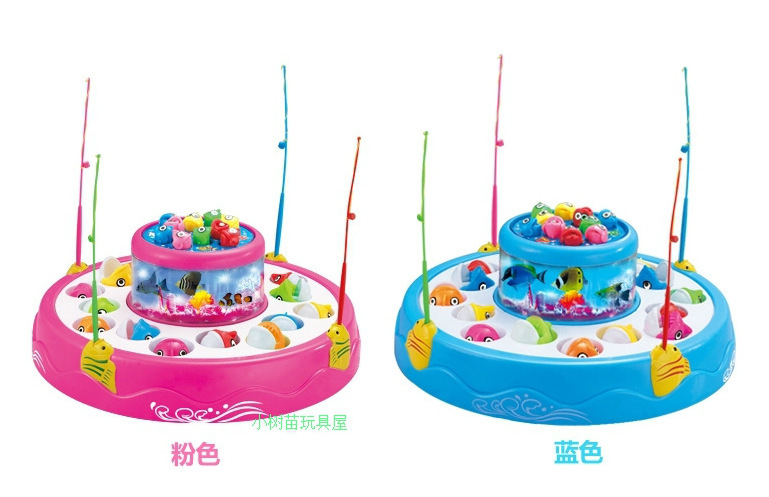 356 Children Fishing Toys Electric Large Size Double Layer Magnetic Rotating Fishing Set Light And Sound