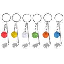 Porte-clés avec pendentif boule de raquette de Golf, Mini boule de Golf créative en métal pour voiture, fermoirs fendus, porte-clés de Clubs de sport pour femmes et hommes, cadeau de décoration