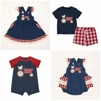 Baby Romper Summer Boy Outfit Girls Clothing Sets Ruffle Kids Boy Navy Farm Design