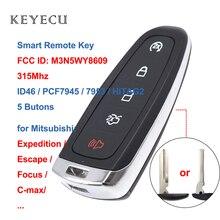 Keyecu 5 כפתור מרחוק להתחיל חכם Prox מפתח 315MHz ID46 עבור פורד Escape Edge משלחת c מקס מזל שור, m3N5WY8609