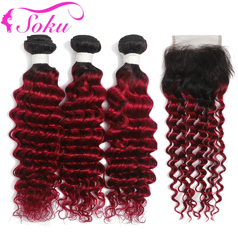 Deep Wave Ombre Bundles With Closure 1B/BURG Brazilian Human Hair Weave Bundles With Closure Non-Remy Hair Weave Extension SOKU