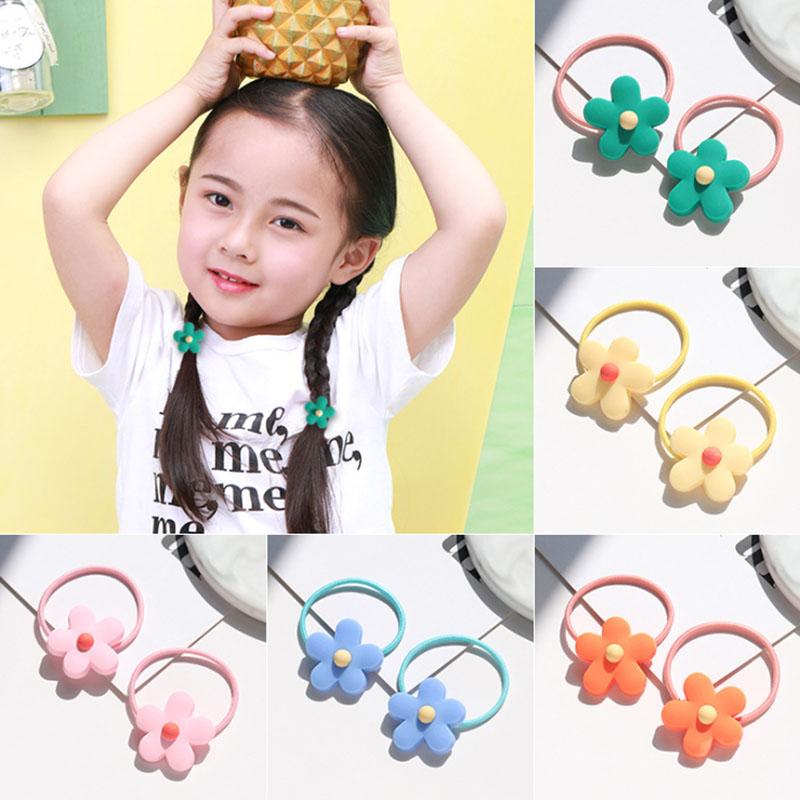 2 Pieces Flower Elastic Hair Rope Flower Ponytail Holder Hair Ties Set For Kids Children Accessories A45