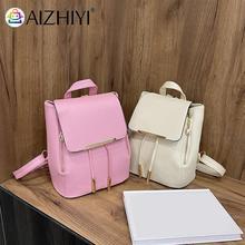 Fashion Women PU Leather Pure Color Backpack Knapsack Preppy Style Casual Ladies Drawstring Handbags Rucksacks