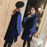 plus size 4XL women 2 pieces dress sets knitted v neck loose long pullovers and dresses lady elegant clothing suits top quality