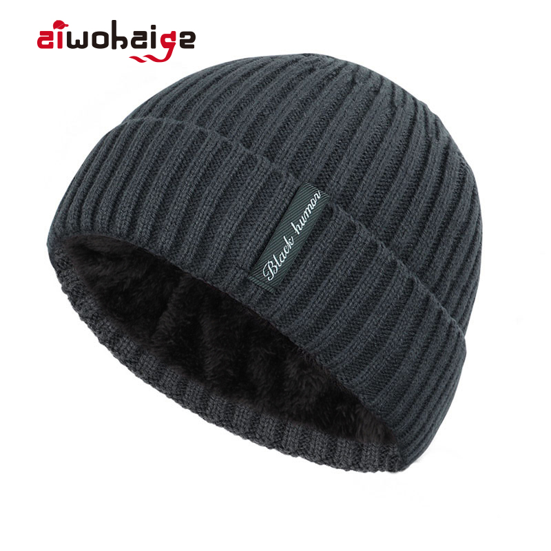 2019 New Fashion High Quality Winter Plus Velvet Thick Warm Knit Hat Women Men Solid Color Casual Beanies Soft Cap Bonnet Cotton
